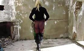 Crossdresser Ladyboy masturbation in sexy women's leather pants & pantyhose