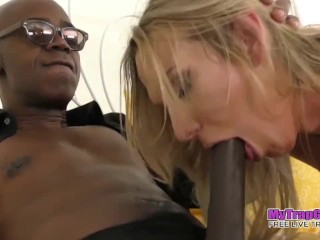Blonde Shemale MILF Gets Destroyed By Huge Black Cock